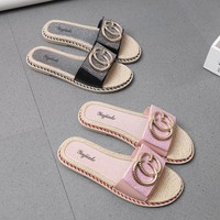Fashion Casual Sequin CG Letter Slippers Women All-match Sandals Flats Shoes