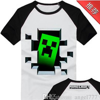 Short-sleeved cotton clothes for men and women coolies fear new animation minecraft