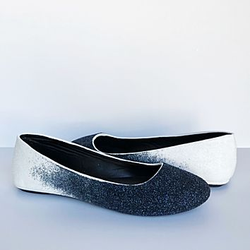 Navy Blue Glitter Flats, White Ombre Ballet Shoes