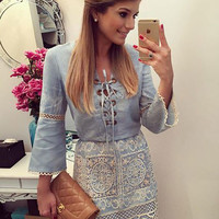 Blue Lace Stitching Denim Long-Sleeved Mini Dress