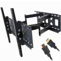 """VideoSecu Tilt Swivel TV Wall Mount 32""""- 65"""" LCD LED Plasma TV Flat Screen with VESA 200x200,400x400,up to 600x400 mm, Full Motion Articulating Dual Arm Mount Fits up to 24"""" Studs MW365B2 C20"""