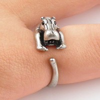 Animal Wrap Ring - Hippo - White Bronze - Adjustable Ring - keja jewelry
