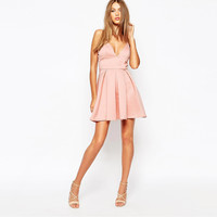 Pink Spaghetti Strap Pleated Dress