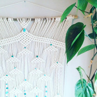 Large Macrame Curtain- Macrame Wall Hanging~ Gift for her~ Boho Wall Decor~ Wedding Decor~ Turquoise Wall Accent- Bohemian Decor- Boho Decor