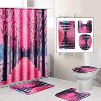 Cherry Blossom Polyester Shower Curtain w/12 Hooks Bathroom Decor Waterproof Pedestal Rug Lid Toilet Cover Bath Mat Set Non Slip