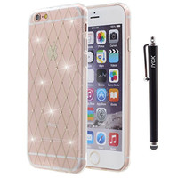 iPhone 6S Plus Case, iYCK Transparent Crystal Plating [Diamond Never Fall Out] Rhinestone Bling Flexible Soft TPU Rubber Gel Protective Shell Back Case Cover for iPhone 6/6S Plus 5.5inch - Rhombus
