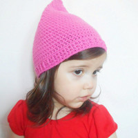 Girls Pink Crochet Pixie Hat , Infants up to 24 months, ready to ship.