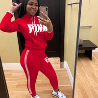 Victoria's Secret Pink Fashion Women Casual Print Long Sleeve Top Pants Sweatpants Two-Piece Set Red