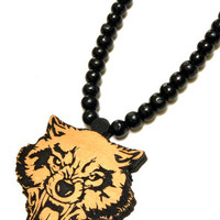 Angry Wolf Wood Pendant