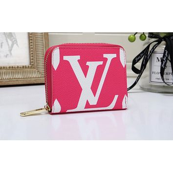 Vsgirlss Louis vuitton hot seller of fashionable lady's printed small purse and clutch bag Rose Red