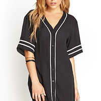 FOREVER 21 Chiffon Baseball Jersey Top Black/White Large