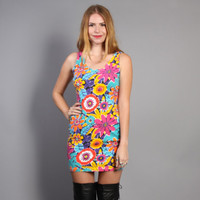 80s FLORAL Body Con DRESS / Bright Fitted Mini Dress, xs-s