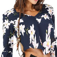 Explosive women's V-neck flared sleeve sexy printed T-shirt top