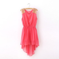 Chiffon Dress With Sequin On Shoulder [79]