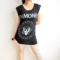 RAMONES Johnny Joey ramones Garage Band Punk Rock Sleeveless T-Shirt Women Tank Top Size L