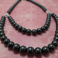 Beautiful, Black, Pearl, Double Strand, Glass Bead, Pin Up Girl, Necklace