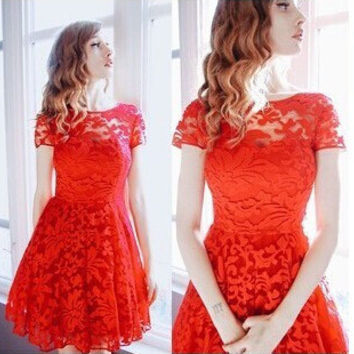 Summer Sexy Red Ball Gown See Through Lace Hot Sale Women's Fashion Dress [4914973636]
