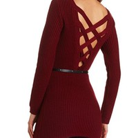 CRISSCROSS BACK BELTED SWEATER TUNIC