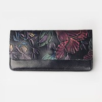 2017 Genuine leather Dimensional Multi-color Relief flowers Hand Painted women long wallet cow leather lady's thin light purse