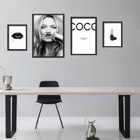 Canvas Painting Supermodel Cuadros Kate Moss,Sexy lips life is a joke For Lijst Canvas Art Print Wall Poster Home Decor unframed