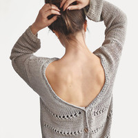 Cotton Cardigan / Hand knitted