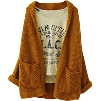 Partiss Womens Plus Size Loose Knitted Cardigan Sweater Small Lightcoffee