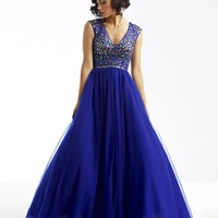 Attractive A-Line V-Neck Beading Zipper-up Long Prom/Quinceanera Dress