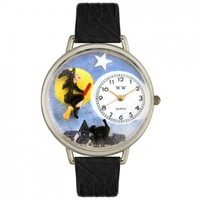 Whimsical Watches Unisex U1220001 Halloween Flying Witch Black Skin Leather Watch