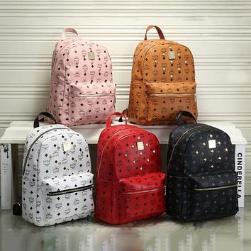 MCM new backpack fashion rivet couple backpack bag