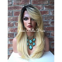 Platinum blonde rooted lace front wig 18""