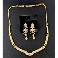 Arc shape one gram gold plated white CZ stone choker necklace and earring set