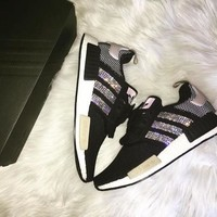 adidas women running sport casual shoes nmd sneakers shining