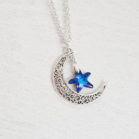 crescent moon and star necklace,silver moon necklace,rustic moon charm,swarovski bermuda blue,beach necklace,starfish,love you to the moon