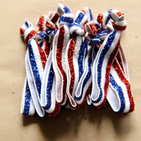 Set of FOUR America Red, White and Blue Sparkle No Dent Hair Ties, won't leave a kink, Military, Bracelet, ponytail holder, Fourth of July