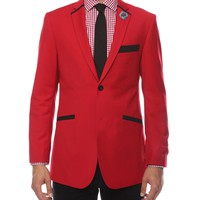 The JerseyBoy Red Black Slim Fit Mens Blazer