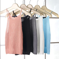Vintage High Rise Crop Top Sleeveless Knit Spaghetti Strap Vest Slim Strap [4920432196]