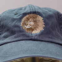 LION HAT - One Embroidered Jungle Wildlife Cap - Price Embroidery Apparel - 24 Color Caps Available