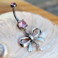 Pastel Bow Pearl Dangle Belly Ring