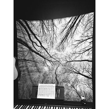 Reiki Charged Trees Looking Up Black and White Sky Wall Tapestry Yoga Meditation Wall Hanging