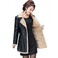 2018 Winter Warm Leather Coats Women Medium Long Thicken Leather Jacket   pu with fur jacket female motorcycle PU leather jacket
