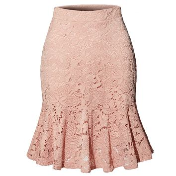High Waisted Floral Lace Flowy Ruffle A Line Midi Skirt (CLEARANCE)