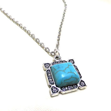 Square Turquoise Necklace, Blue Gemstone Necklace, Small Turquoise Necklace, Blue Necklace, Friendship Necklace, Protection, Luck, Love