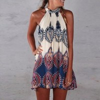Women Casual Floral Sundress Halter Zip Beach Dress = 1956914564