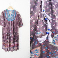 Vintage 70s 80s Boho Hippie India Print Cotton Belnd Gauze Dress / Beaded / Festival