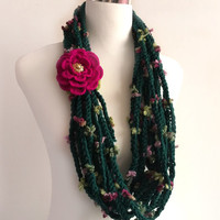 pine green flower hand crochet chain Infinity scarf with removable crochet flower - gift or for you