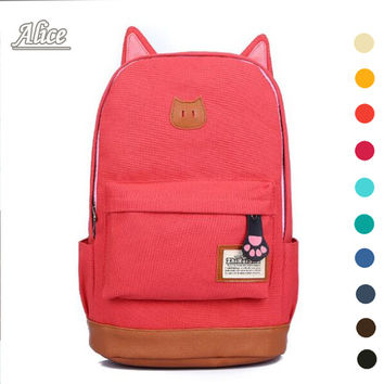 2016 campus School bag girls backpack women travel bag of young men canvas backpack outdoor sports bags Cat ears cartoon package