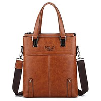 POLO Men Business Briefcase Casual Shoulder Bag HandBag Light Brown