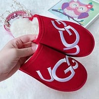 UGG New Embroidered Letters Men's and Women's Cotton Shoes Slippers Shoes
