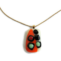 glass bubbles pendant,  fused glass necklace, glass pendant necklace, fused glass pendant,orange green red fused glass pendant necklace
