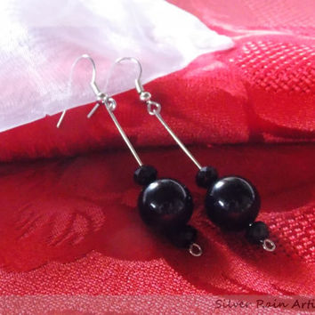 Dangle earrings with black beads - black drop earrings - casual earrings - formal earrings - black earrings